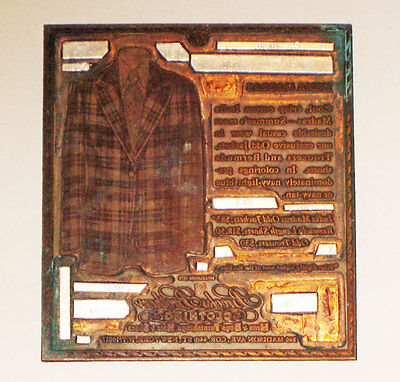 antique Vintage PRINTING PLATE *BROOKS BROTHERS* copper  ***rare***