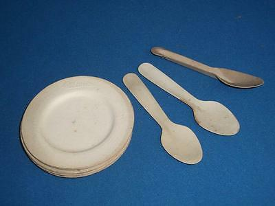 "VERY RARE 1930's? Unused Pressed Paper Sampling Plates & Spoons Embossed ""Heinz"""
