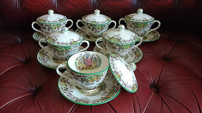 Rare Copeland Spodes Byron Vintage 6 Lidded Breakfast / Chocolate Cups & Saucers