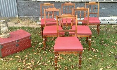 6 Antique Oxblood Red Leather and Oak Dining Chairs