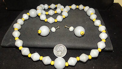 Estate Treasure Vintage Chunky Celluloid Necklace Earrings Set Abstract