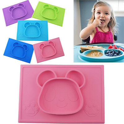 Portable Feeding toddlers Silicone Baby Placemat One-piece Kids Food Plate Dish