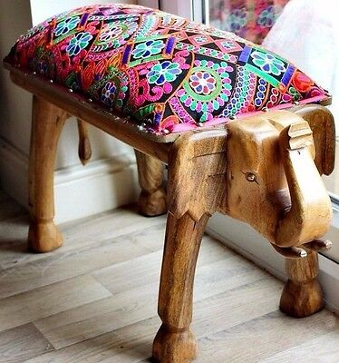 Moroccan Embroidered Gold Button Large Wooden Elephant Carved Stool Bench Table