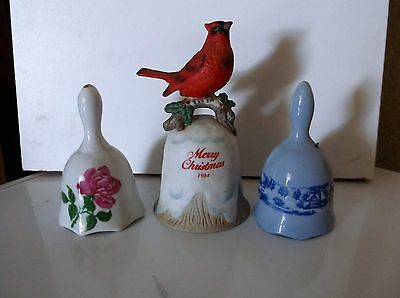Bells Ceramic Porcelain Red Bird Rose Farm Scene Enesco Various Sizes Lot of 3