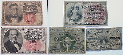 5 Fractional Currency Notes, 3/5/10/25 Cents, Vintage US Bills   (250923H)