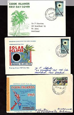 Covers (3) ~ COOK ISLANDS Solar Eclipse MANUAE Self Government FDI ~ 1965