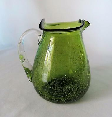 Vintage Green Blown Crackle Glass Clear Handle Ruffled Curve Rim Pitcher Vase