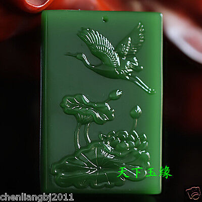 Exquisite China natural green jade hand carved pendant-Lotus crane