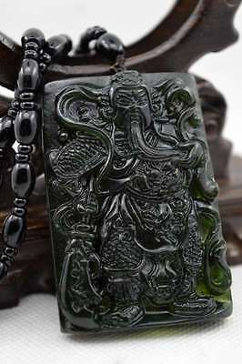 Natural Dark green Hand-carved Chinese Jade Pendant -关公 guan gong-Free Necklace