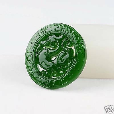 China Finely crafted Sided hollow Green jade Amulet Pendant Dragon Necklace
