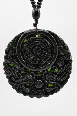 Natural Dark green Hand-carved Chinese Jade Pendant -Free Necklace Double Dragon