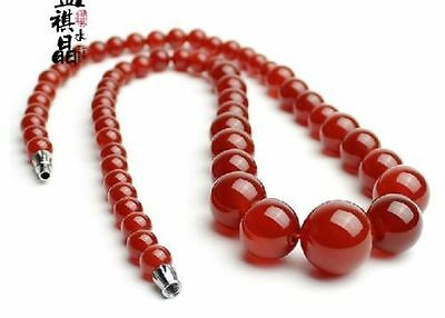 """18/"""" Chinese Nature Agate Jade Red Color Round Pearls Women/'s Necklace Pendants"""