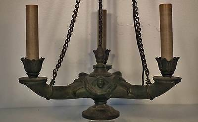 Antique 19th century Empire Regency style Neoclassic Roman Bronze Chandelier
