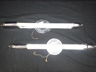 Antique Silver Toned Tube Wall Light Fixtures Set of 2