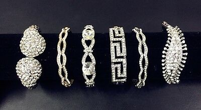 wholesale joblot Plated Clear Crystal Diamante Elegant Cuff Bangles 4 pcs/pack