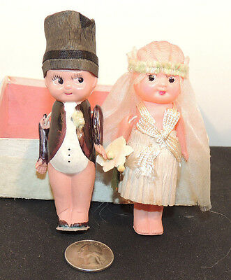 Bride and Groom Celluloid Figurines  (11463)