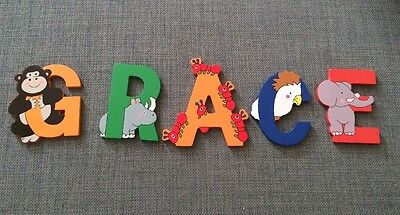 Wooden Animal Letters Spelling The Name GRACE Free Postage