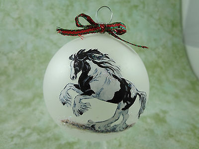 H018 Hand-made Christmas Ornament HORSE black & white gypsy cob vanner gallop