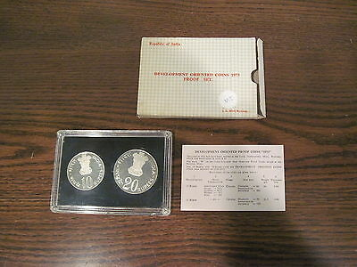 India 1973- Development Oriented Coins- Two-Piece Silver Proof Set- 10&20 Rupee