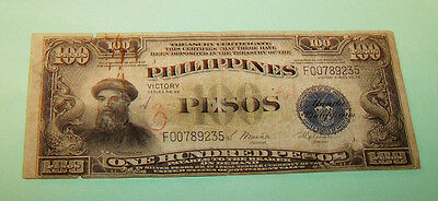 PHILIPPINES 1944 U.S Treasury Note ONE HUNDRED PESO VICTORY SERIES 66  F00789235
