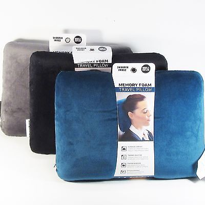 New Sharper Image Travel Pillow Memory Foam Rectangular choice of color