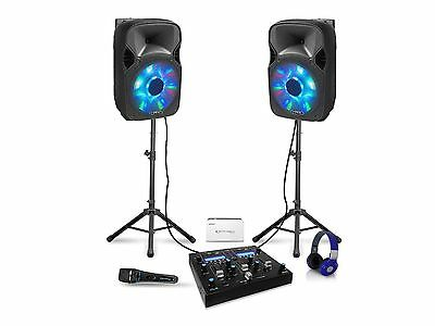 Bluetooth DJ Package 2 Speakers, Mixer,Tripods,Headphone,Battery & Microphone