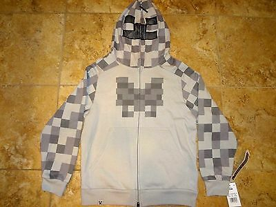NWT Youth Kids Jinx Minecraft Costume Hoodie Gray Skeleton Face Game S M L XL