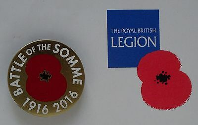 Official Royal British Legion Somme Battle Centenary pin badge for Poppy Appeal