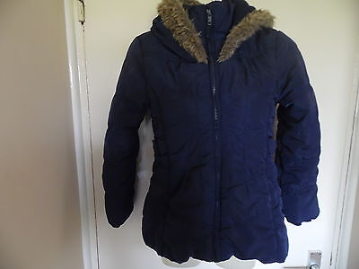 Childrens blue padded coat with fur lined hood from Jasper Conran size 8-9 years