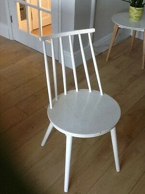 retro Ercol style spindle back wooden chair round seat painted white