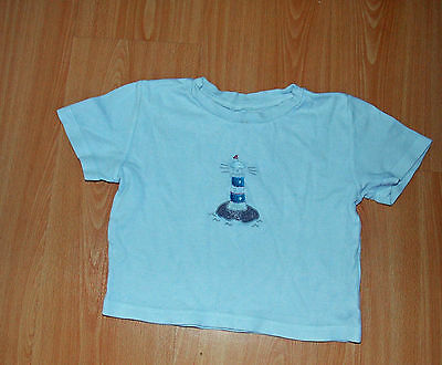 Boy's T-Shirt With Embroidered Lighthouse. Size: 2 - 3 Years. White.