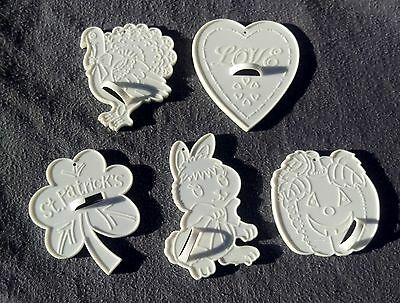 5 Vintage Cookie Cutters Valentines St Patricks Easter Halloween Thanksgiving