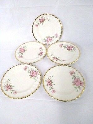 American Limoges WILD ROSE (GOLD TRIM) Bread & Butter Plate Set of 5 (CI)