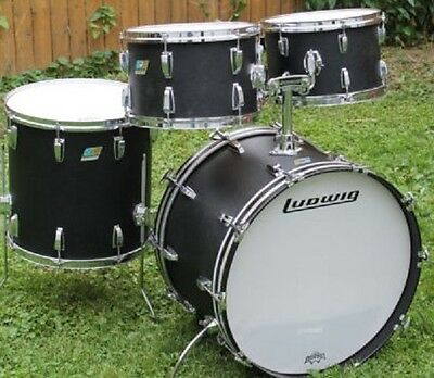 1970S Ludwig Black Panther Kt.  22,16,13,12  Excellent Condition, 3 Ply Maple
