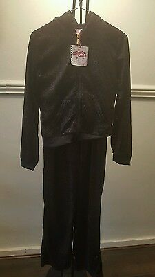 girls black sparkle velour tracksuit 11-12yrs