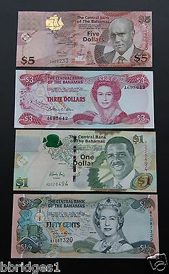 Bahamas Set of 50 Cent, $1, $3 and $5 Dollar Banknotes UNC