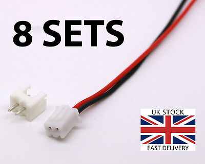 8 SETS Micro JST PH 2.0mm 2 Pin Male Female Connector Plug 15cm - UK stock