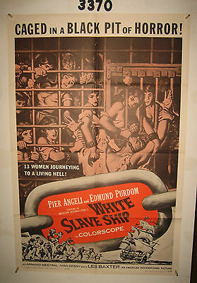 White Slave Ship Original 1sh Movie Poster 1962 sexy caged women in a black pit
