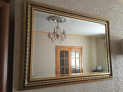 Large Antique Style Gold Wall Mirror  107cm x 78cm