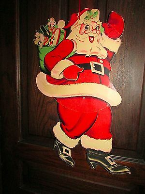 """vintage (1940s or 50s) cardboard Santa cutout with movable legs 26"""" tall"""