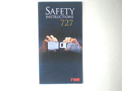 Twa 727 Instruction Card Dated 3/1998-New.
