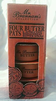 Royal Barum Ware Mr. Brannam's Collection - Set Of Four Butter Pats & Stamp Bnib