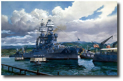 """""""The Last Mooring"""" by Tom Freeman Print- USS Arizona- Co-signed by Don Stratton"""