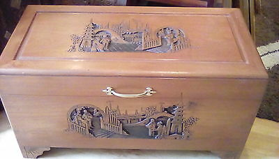 Oriental carved hardwood blanket box /chest