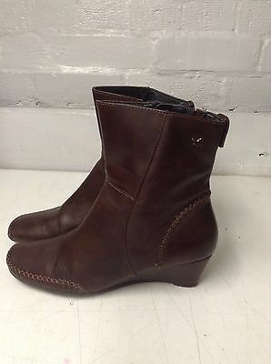 PIKOLINOS Brown Leather Zipped Ankle Boots Size 6UK