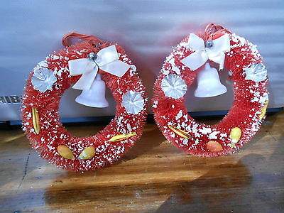 """Vintage Pair Red Bottle Brush Christmas Wreaths with Bells and Fruit / 4"""""""