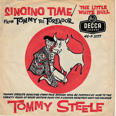 TOMMY STEELE The Little White Bull 4 PRONG DISC in PICTURE SLEEVE