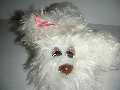 """Vintage Pound Puppies Solid White Furry Furries 6"""" Puppy Dog Stuffed Animal"""
