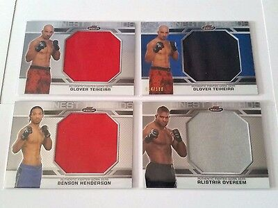 LOT OF 4 CARDS UFC Fighter Worn Relics 2013 TOPPS Finest Chrome gears Overeem