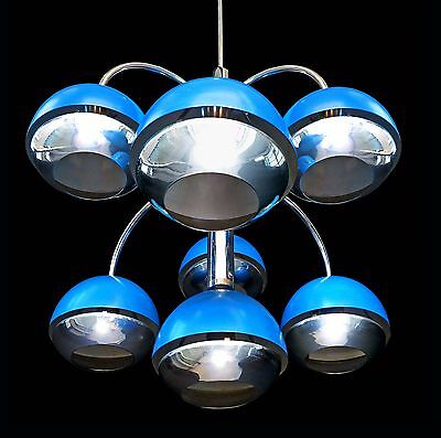 Blue 7 Light Vintage 1960s Mid-Century Italian Modernist Stilnovo Era Chandelier